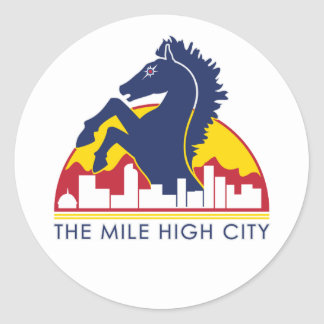 Mile High City Blue Horse Classic Round Sticker