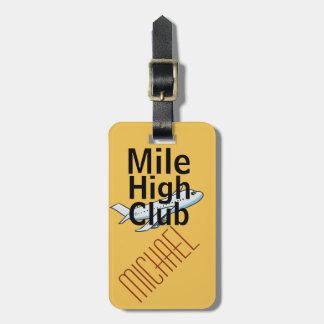 Mile High Club funny customisable luggage tag