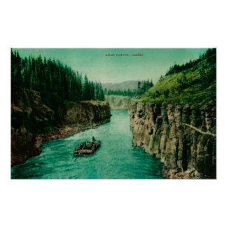 Miles Canyon, Alaska View with Men Rafting Down Poster