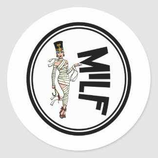MILF Retro Mummy Pinup Girl Classic Round Sticker