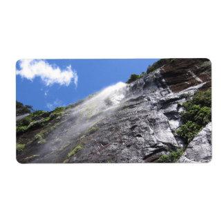 Milford Sound (Piopiotahi) Waterfall Up Close POV Shipping Label