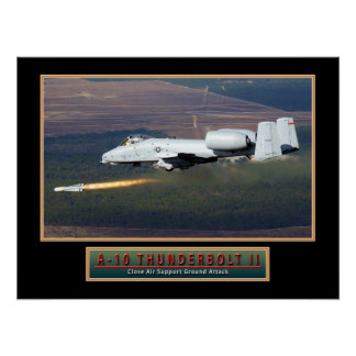 "Military Aircraft Poster ""A-10 Thunderbolt"" 24x18"