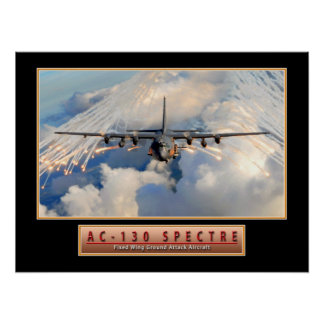 "Military Aircraft Poster ""AC-130 Spectre"" 24x18"
