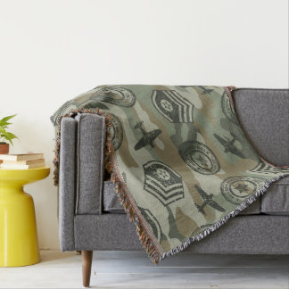 Military badges throw blanket