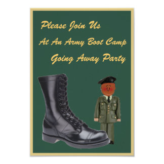 """Military Boot Camp Going Away Invitations 3.5"""" X 5"""" Invitation Card"""