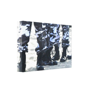 Military boots stretched canvas prints