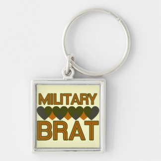 Military Brat Silver-Colored Square Key Ring