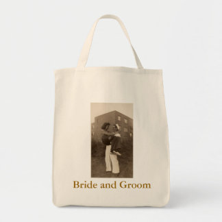 Military Bride and Groom Grocery Tote Bag