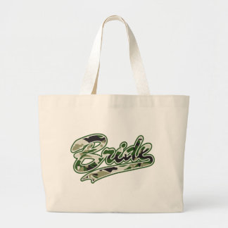 Military Bride Green Camouflage Large Tote Bag