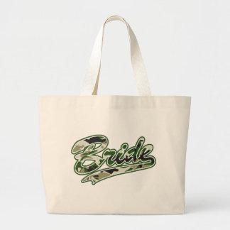 Military Bride Green Camouflage Jumbo Tote Bag