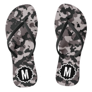 Military  Brown Camouflage Camo Monogram Thongs