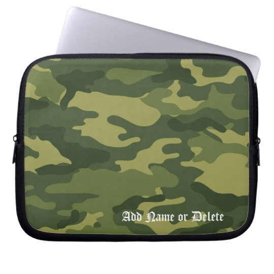 Military Camo Pattern with Name Laptop Sleeve