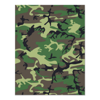 "Military Camouflage 4.25"" X 5.5"" Invitation Card"