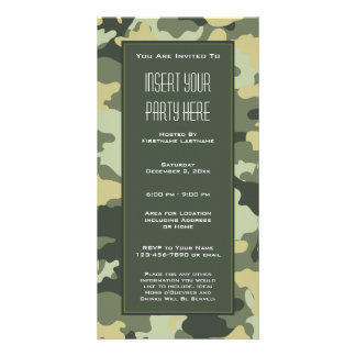 Military Camouflage Party  Invitation Customised Photo Card
