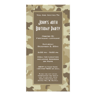 Military Camouflage Party  Invitation Customized Photo Card