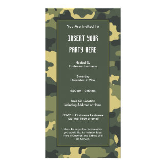 Military Camouflage Party  Invitation Custom Photo Card