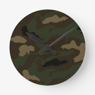 military camouflage pattern round clock