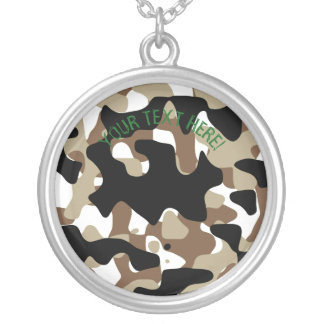 Military Camouflage Pattern Silver Plated Necklace