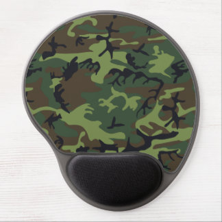 Military Camouflage Pattern, Woodland Style Gel Mouse Pad