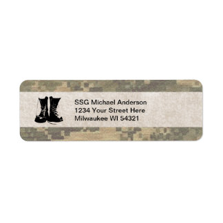 Military Camouflage with Army Combat Boots Custom Return Address Label