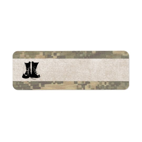 Military Camouflage with Army Combat Boots Return Address Label