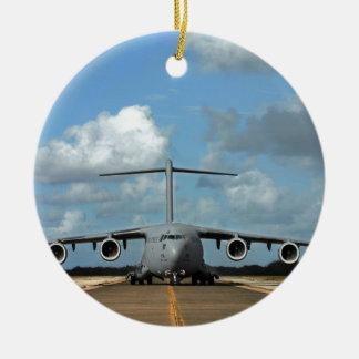 Military cargo plane landing ceramic ornament