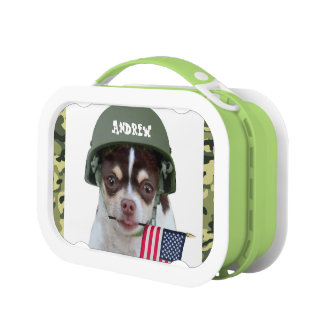 Military Chihuahua Dog lunch box