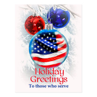 Military Christmas American Flag in Ornament Postcard