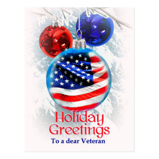 Military Christmas American Flag to Veterans Postcard
