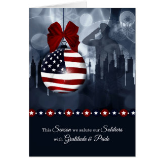 Military Christmas - American Flag with Soldier Card