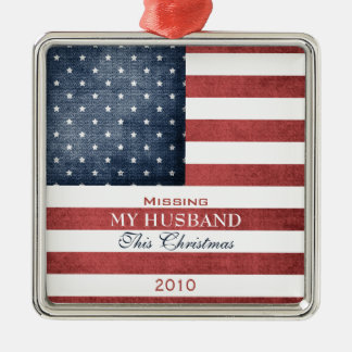 Military Christmas Silver-Colored Square Decoration