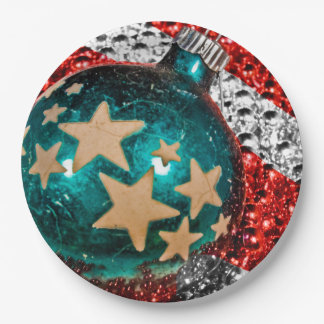 Military Christmas Stars Stripes Holiday Design 9 Inch Paper Plate