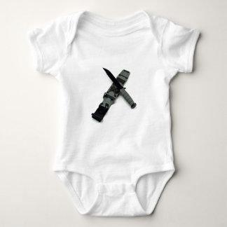 military combat knife cross pattern ka-bar style baby bodysuit