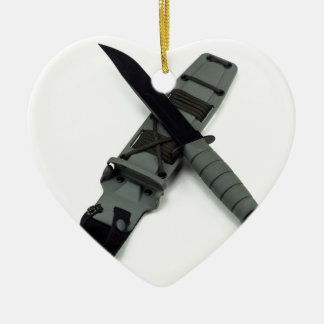 military combat knife cross pattern ka-bar style ceramic ornament