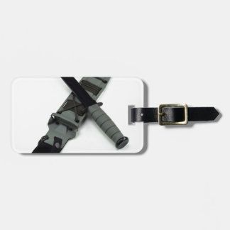 military combat knife cross pattern ka-bar style luggage tag