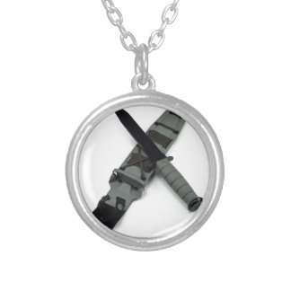 military combat knife cross pattern ka-bar style silver plated necklace