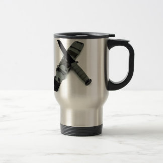 military combat knife cross pattern ka-bar style travel mug