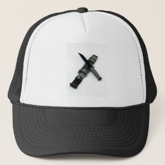 military combat knife cross pattern ka-bar style trucker hat