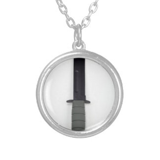 military combat knife vertical  ka-bar style silver plated necklace