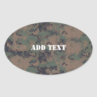 Military Digital Woodland Background Oval Sticker