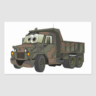Military Dump Truck Cartoon Rectangular Sticker