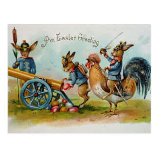 Military Easter Bunnies Eggs in Canon Postcard