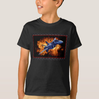 Military fighter jet flying out of the fire T-Shirt
