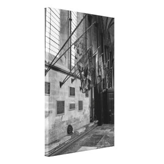 Military flags inside Salisbury Cathedral England Gallery Wrapped Canvas