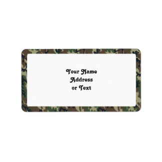 Military Forest Camouflage Background Address Label