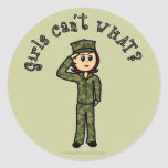 Military Girl - Red Hair Stickers