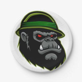 Military Gorilla Head 7 Inch Paper Plate