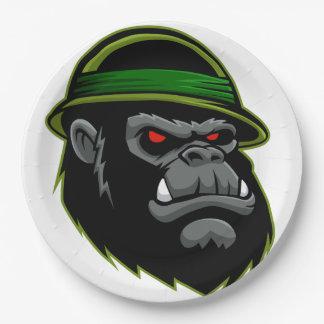 Military Gorilla Head 9 Inch Paper Plate