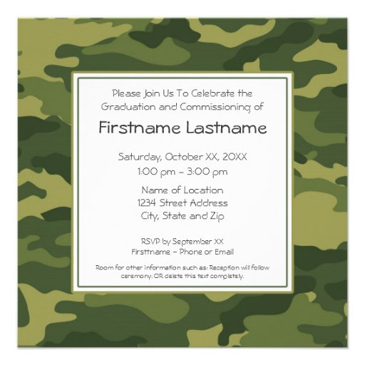 Military Graduation or Commissioning Party Announcement