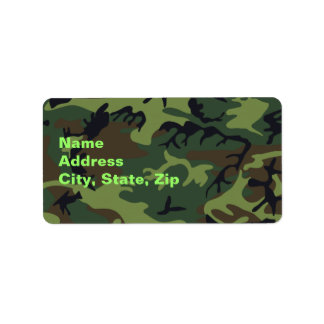 Military Green Camouflage Address Label